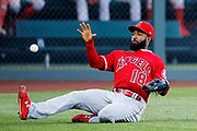 Kansas City Sports Photographer- Los Angeles Angels left fielder Brian Goodwin fields a ball hit by Kansas City Royals' Martin Maldonado in the second inning of a baseball game at Kauffman Stadium in Kansas City, Mo., Saturday, April 27, 2019. (AP Photo/Colin E. Braley)