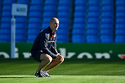 England Head Coach Stuart Lancaster looks on as the players warm up - Mandatory byline: Patrick Khachfe/JMP - 07966 386802 - 09/10/2015 - RUGBY UNION - Manchester City Stadium - Manchester, England - England Captain's Run - Rugby World Cup 2015.