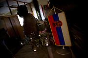 Mayor's office, Serbian Flag and Brandy. Serbian territory in the north of Kosovo..Zvecan, Kosovo, Serbia..