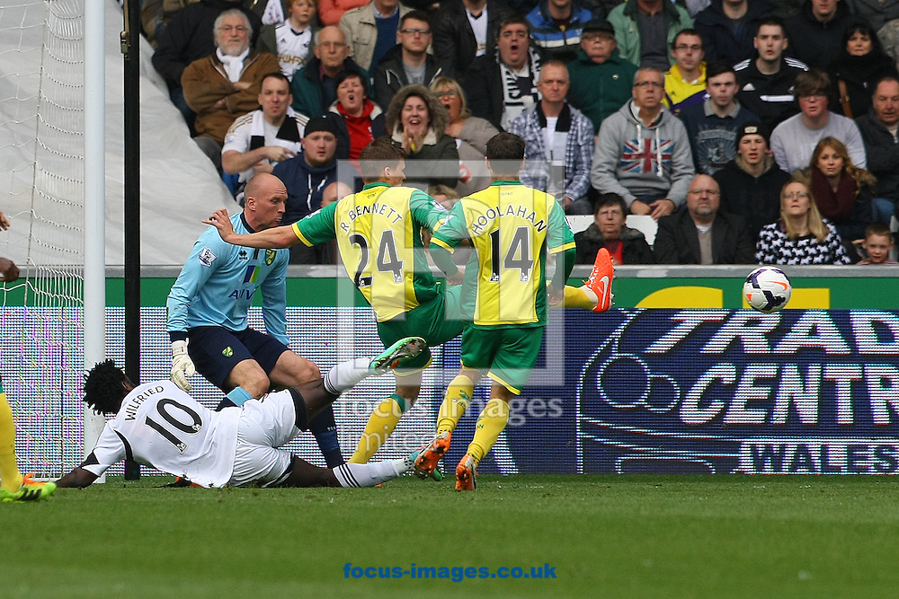 Ryan Bennett of Norwich clears the ball during the Barclays Premier League match at the Liberty Stadium, Swansea<br /> Picture by Paul Chesterton/Focus Images Ltd +44 7904 640267<br /> 29/03/2014