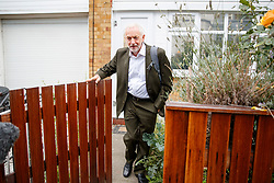 © Licensed to London News Pictures. 04/09/2018. London, UK. Leader of Labour Party, JEREMY CORBYN leaves his home in north London ahead of National Executive Committee meeting to discuss party's code of conduct on antisemitism on Tuesday, 4 September 2018. Photo credit: Tolga Akmen/LNP