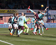 1st April 2018, Dens Park, Dundee, Scotland; Scottish Premier League football, Dundee versus Heart of Midlothian; Christophe Berra of Hearts takes a tumbles as he clears the ball