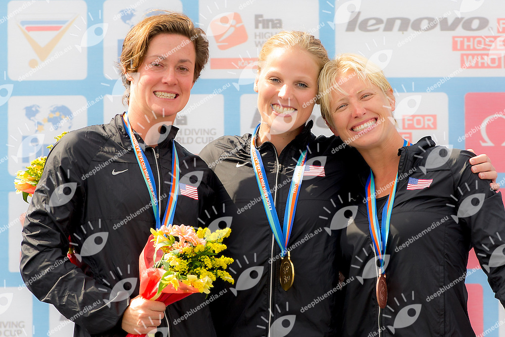 HUBER Ginger USA Silver<br /> SIMPSON Rachelle USA Gold medal<br /> CARLTON Cesilie USA Bronze<br /> Women Competition Medal award ceremony<br /> FINA High Diving World Cup 2014<br /> Kazan Tatartsan Russsia RUS Aug. 8 to 10 2014<br /> Kazanka River  Day02 - Aug.9 <br /> Photo G. Scala/Deepbluemedia