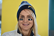 A Los Angeles Chargers fan during the International Series match between Tennessee Titans and Los Angeles Chargers at Wembley Stadium, London, England on 21 October 2018.