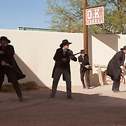 Actors re-enact the infamous gunfight at the OK Corral in Tombstone, Arizona.