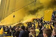 FODBOLD: Røg på sydsiden før kampen i ALKA Superligaen mellem Brøndby IF og FC København den 17. april 2017 på Brøndby Stadion. Foto: Claus Birch
