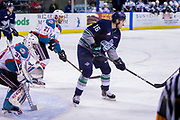 KELOWNA, CANADA - APRIL 30:  Michael Herringer #30 of the Kelowna Rockets, Devante Stephens #21 of the Kelowna Rockets, Alexander True #16 of the Seattle Thunderbirds at the Kelowna Rockets game on April 30, 2017 at Prospera Place in Kelowna, British Columbia, Canada.  (Photo By Cindy Rogers/Nyasa Photography,  *** Local Caption ***