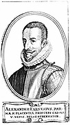 Alessandro Farnese, 3rd Duke of Parma (1546-1592). Nephew of Philip II (1527-1598) king of Spain from 1556. Governor-General of the Spanish Netherlands from 1578. Copperplate engraving by Dutch printmaker Crispian van de Passe the Elder (c1565-1637).