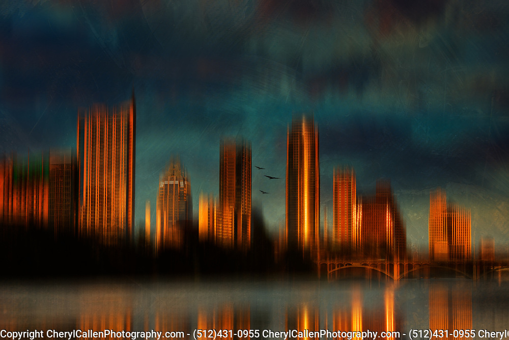 Abstract Austin Skyline at sunset