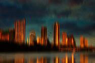 Abstract Austin Skyline at sunset