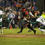 26 November 2016: The San Diego State Aztecs football team closes out the season at home against Colorado State.  San Diego State kick returner Rashaad Penny (20) returns a kick off in the first quarter against the Rams. The Aztecs trail the Rams 42-24 at halftime. www.sdsuaztecphotos.com