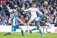 Real Madrid Gareth Bale and R.C. Deportivo Luisinho Correia, Bruna Gama during La Liga match between Real Madrid and R. C. Deportivo at Santiago Bernabeu Stadium in Madrid, Spain. January 18, 2018. (ALTERPHOTOS/Borja B.Hojas)