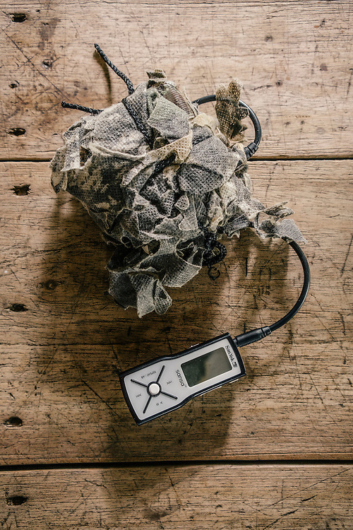 The audio feedback player of Ornithologist Martjan Lammertink, which contains dozens of different bird calls used to lure birds closer to be spotted and photographed.