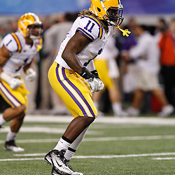 Jan 7, 2011; Arlington, TX, USA; LSU Tigers linebacker Kelvin Sheppard (11) during warm ups prior to kickoff of the 2011 Cotton Bowl against the Texas A&M Aggies at Cowboys Stadium. LSU defeated Texas A&M 41-24.  Mandatory Credit: Derick E. Hingle