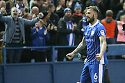 Sheffield Wednesday forward Steven Fletcher (6) celebrates his headed goal  during the EFL Sky Bet Championship play off second leg match between Sheffield Wednesday and Huddersfield Town at Hillsborough, Sheffield, England on 17 May 2017. Photo by John Potts.