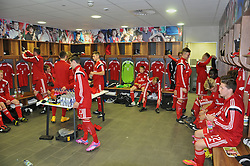NEWPORT, WALES - Tuesday, September 23, 2014: Wales' players in the dressing room before the Under-16's International Friendly match against France at Dragon Park. (Pic by Cledwyn Ashford/Propaganda)