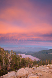 """Donner Lake Sunset 25"" - Photograph of Donner Lake and Truckee, California at sunset."