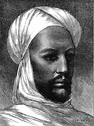 The Mahdi (Mohammed Ahmed 1848-85) Charismatic Muslim leader, slave trader, rebel against Egyptian rule in Eastern Sudan. Defeated British under Gordon at Khartoum in 1885. Wood engraving.