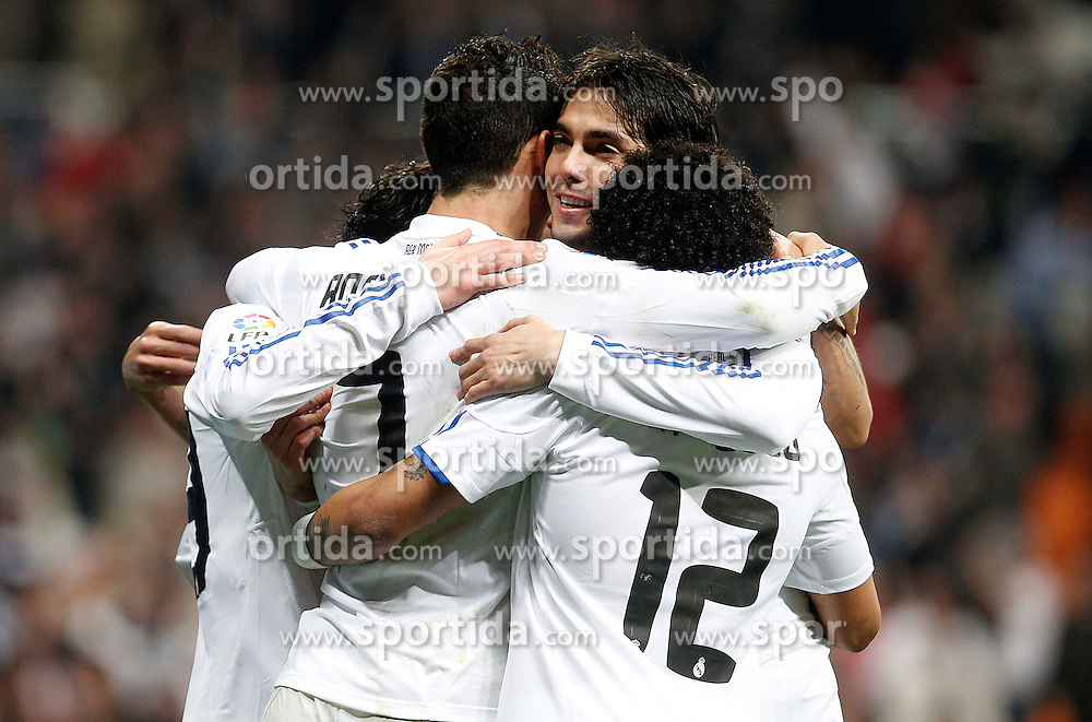 13.01.2011, Estadio Santiago Bernabeu, Madrid, ESP, Copa del Rey, Viertelfinale, Atletico Madrid vs Real Madrid, im Bild //Real Madrid's Cristiano Ronaldo (l) and Kaka celebrate goal during Spanish King's Cup match. EXPA Pictures © 2011, PhotoCredit: EXPA/ Alterphotos/ Acero +++++ ATTENTION - OUT OF SPAIN / ESP +++++