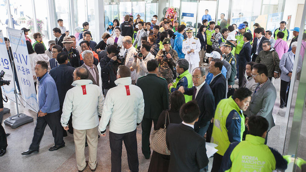 Crowd at the Jeongok Marina Clubhouse opening at Korea Match Cup 2013. Gyeonggi Province, Korea. 29 May 2013 Photo: Subzero Images/AWMRT