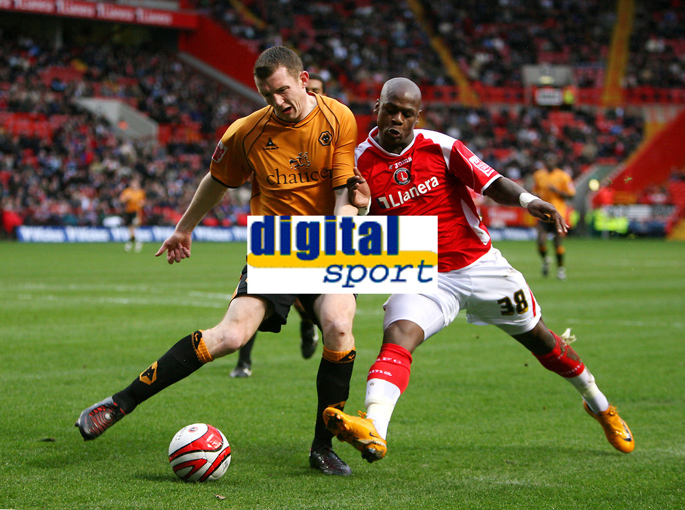 London, England - Saturday, March 29th, 2008:  Charlton Athletic's Leroy Lita in action against Wolverhampton Wanderers's Neill Collins during the Coca Cola Championship match at The Valley. (Pic by Chris Ratcliffe/Propaganda)