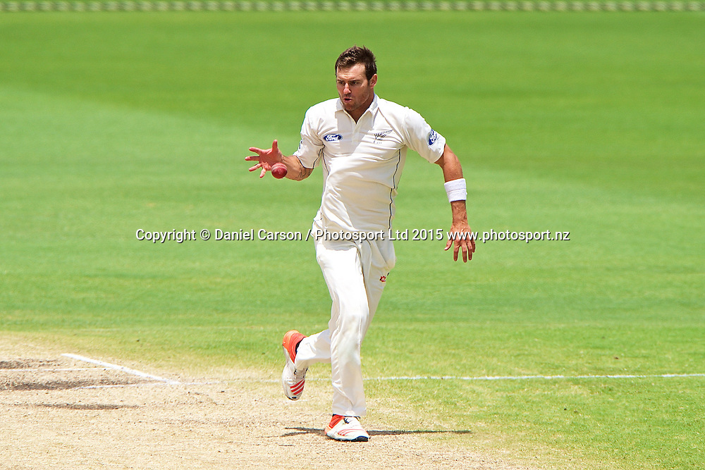 Doug Bracewell of the New Zealand Black Caps takes the paces off a hit during Day 5 on the 17th of November 2015. The New Zealand Black Caps tour of Australia, 2nd test at the WACA ground in Perth, 13 - 17th of November 2015.   Photo: Daniel Carson / www.photosport.nz