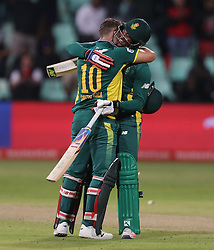 David Miller of South Africa celebrates his century with Andile Phehlukwayo of South Africa during the 3rd ODI match between South Africa and Australia held at Kingsmead Stadium in Durban, Kwazulu Natal, South Africa on the 5th October  2016<br /> <br /> Photo by: Steve Haag/ RealTime Images