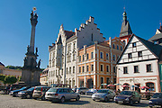 Marketplace with church. Loket. Czech Republic.