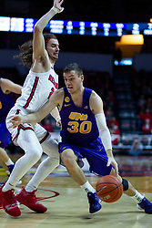 NORMAL, IL - December 31: Spencer Haldeman defended by Matt Chastain during a college basketball game between the ISU Redbirds and the University of Northern Iowa Panthers on December 31 2019 at Redbird Arena in Normal, IL. (Photo by Alan Look)