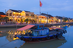 Dusk view of UNESCO world heritage town of Hoian in Vietnam