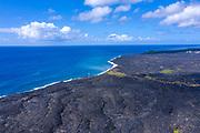 New lava flow, black sand beach, Kalapana, Kilauea Volcano, Big Island of Hawaii, Hawaii