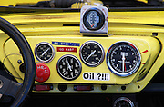Custom dashboard lettering provides some useful tips and reminders to a vintage racecar driver