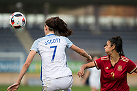 England's Jill Scott and Spain's Leila Ouahabi during the frendly match between woman teams of  Spain and England at Fernando Escartin Stadium in Guadalajara, Spain. October 25, 2016. (ALTERPHOTOS/Rodrigo Jimenez)