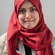 Olympia London, UK. 21 April 2018: Beautiful ladies wearing Hijab attended the London Muslim Lifestyle Show 2018.