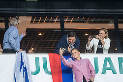 Borut Pahor President of Republic of Slovenia taking selfie during the 2020 UEFA European Championships group G qualifying match between Slovenia and Israel at SRC Stozice on September 9, 2019 in Ljubljana, Slovenia. Photo by Grega Valancic / Sportida