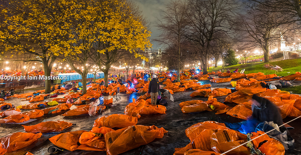 Sleeping bags laid out at  Sleep in the Park, held in Princes Street Gardens in Edinburgh, saw almost 9000 people sleep outdoors to raise money and awareness of homelessness.