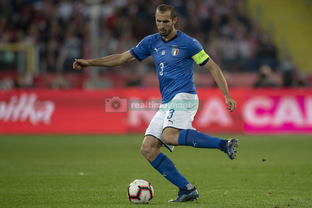 October 14, 2018 - Chorzow, Poland - Giorgio Chiellini of Italy controls the ball during the UEFA Nations League A match between Poland and Italy at Silesian Stadium in Chorzow, Poland on October 14, 2018  (Credit Image: © Andrew Surma/NurPhoto via ZUMA Press)