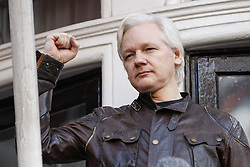 May 19, 2017 - London, England, U.K. - Wikileaks founder JULIAN ASSANGE speaks on the balcony of Ecuadorian embassy in London where he has been living since 2012. Today the Swedish authorities have announced that they are dropping their investigation into rape allegations against him. (Credit Image: © Tolga Akmen/London News Pictures via ZUMA Wire)
