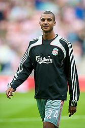 SUNDERLAND, ENGLAND - Saturday, August 16, 2008: Liverpool's David Ngog warms-up before the opening Premiership match of the season against Sunderland at the Stadium of Light. (Photo by David Rawcliffe/Propaganda)