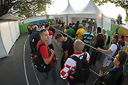 "Rio de Janeiro. BRAZIL. Queueing for security at the media entrance, in the morning  2016 Olympic Rowing Regatta. Lagoa Stadium,<br /> Copacabana,  ""Olympic Summer Games""<br /> Rodrigo de Freitas Lagoon, Lagoa. Local Time 07:01:19   Saturday  06/08/2016 <br /> <br /> [Mandatory Credit; Peter SPURRIER/Intersport Images]"