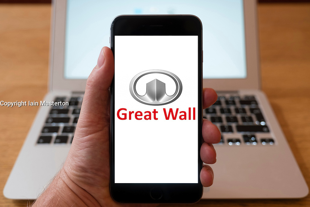 Using iPhone smartphone to display logo of Great Wall Chinese car manufacturing company