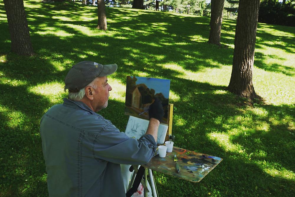 Grings Mill Park, Plein Aire painter Russ Slocum, Berks Co., PA
