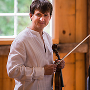 Jaroslaw Lis of The Arensky Ensemble performing in the barn at Moffatt-Ladd House in Portsmouth, NH. July 2012