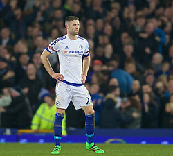 LIVERPOOL, ENGLAND - Saturday, March 12, 2016: Chelsea's Gary Cahill looks dejected as Everton score the opening goal during the FA Cup Quarter-Final match at Goodison Park. (Pic by David Rawcliffe/Propaganda)