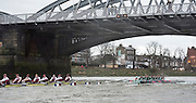 Putney, London, Pre Boat Race Fixture, Cambridge University Women's Boat Club {CUWBC} v Oxford Brookes University over the River Thames, Championship Course Putney to Mortlake, Sunday 31/01/2016. [Mandatory Credit; Intersport-images]<br /> <br /> Cambridge on Middlesex, Crew, Bow Ashton Brown, 2 Zara Goozee, 3 Alice Jackson, 4 Fiona Macklin, 5 Hannah Roberts, 6 Thea Zabell, 7 Daphne Martschenko, Stroke Myriam Goudet, Cox Rosemary Ostfeld.<br /> <br /> Oxford Brookes on Surrey, Crew, Bow, Grace Macdonald, 2, Imogen Mackie, 3, Christie Duff, 4, Emily Herridge, 5, Jess Brown, 6, Danni Shrosbree, 7, Annie Withers, Stroke, Suzie Dear, Cox, Aisling Humphries.