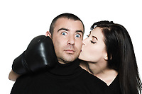 studio shot portrait on isolated white background of a  Funny, couple conciliation  fighting