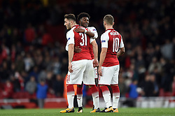 Arsenal players celebrate at the final whistle - Mandatory by-line: Patrick Khachfe/JMP - 14/09/2017 - FOOTBALL - Emirates Stadium - London, England - Arsenal v Cologne - UEFA Europa League Group stage