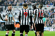 Kenedy (#15) of Newcastle United celebrates Newcastle United's second goal (2-0) with Mohamed Diame (#10) of Newcastle United during the Premier League match between Newcastle United and Southampton at St. James's Park, Newcastle, England on 10 March 2018. Picture by Craig Doyle.