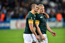 Ruan Pienaar and Adriaan Strauss of South Africa - Mandatory byline: Patrick Khachfe/JMP - 07966 386802 - 30/10/2015 - RUGBY UNION - The Stadium, Queen Elizabeth Olympic Park - London, England - South Africa v Argentina - Rugby World Cup 2015 Bronze Final.