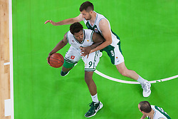 Deon Thompson of Union Olimpija & Smiljan Pavic of Krka during basketball match between KK Union Olimpija and KK Krka in 4nd Final match of Telemach Slovenian Champion League 2011/12, on May 24, 2012 in Arena Stozice, Ljubljana, Slovenia. Krka defeated Union Olimpija 65-55. (Photo by Grega Valancic / Sportida.com)